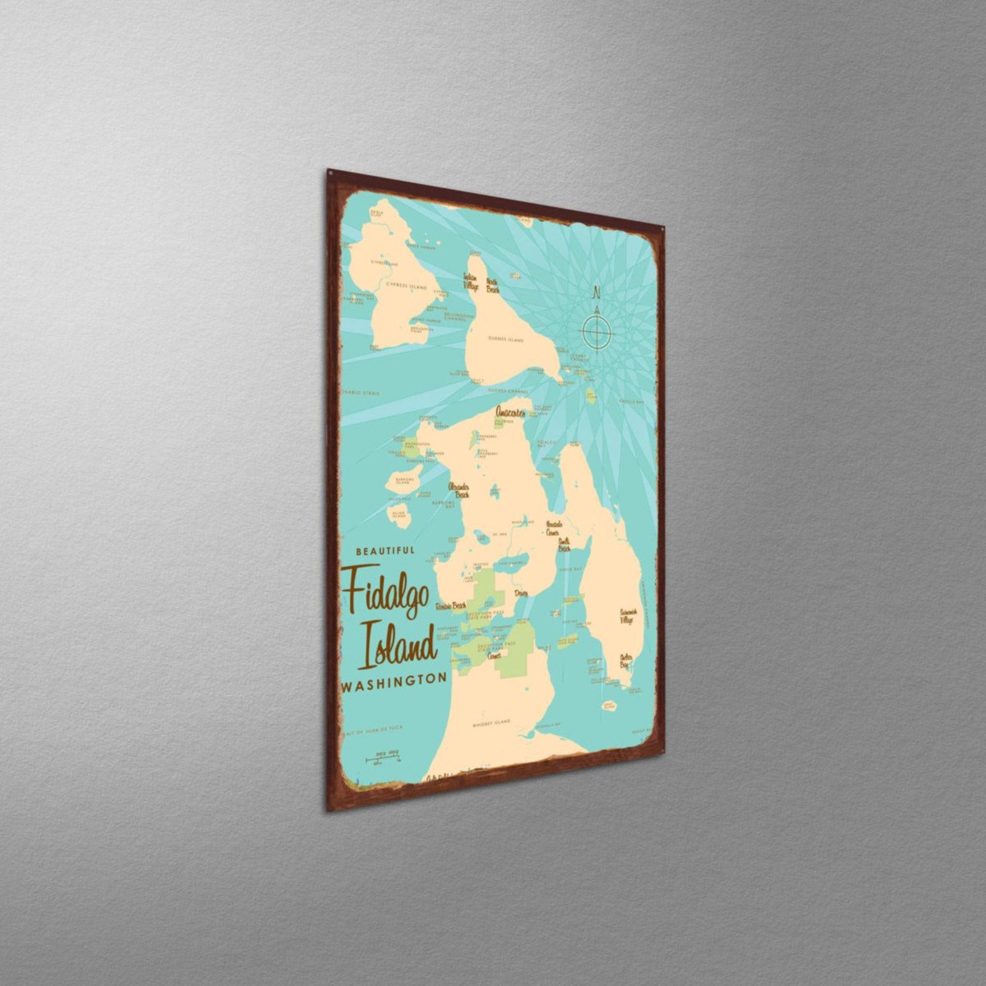Fidalgo Island Washington, Rustic Metal Sign Map Art