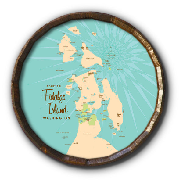 Fidalgo Island Washington, Barrel End Map Art