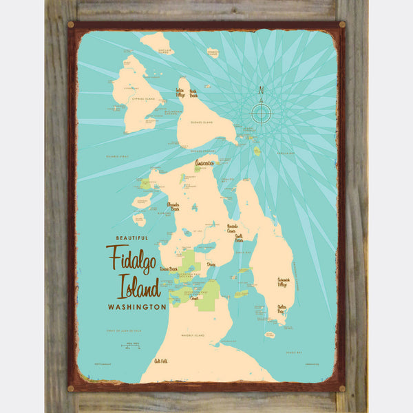 Fidalgo Island Washington, Wood-Mounted Rustic Metal Sign Map Art