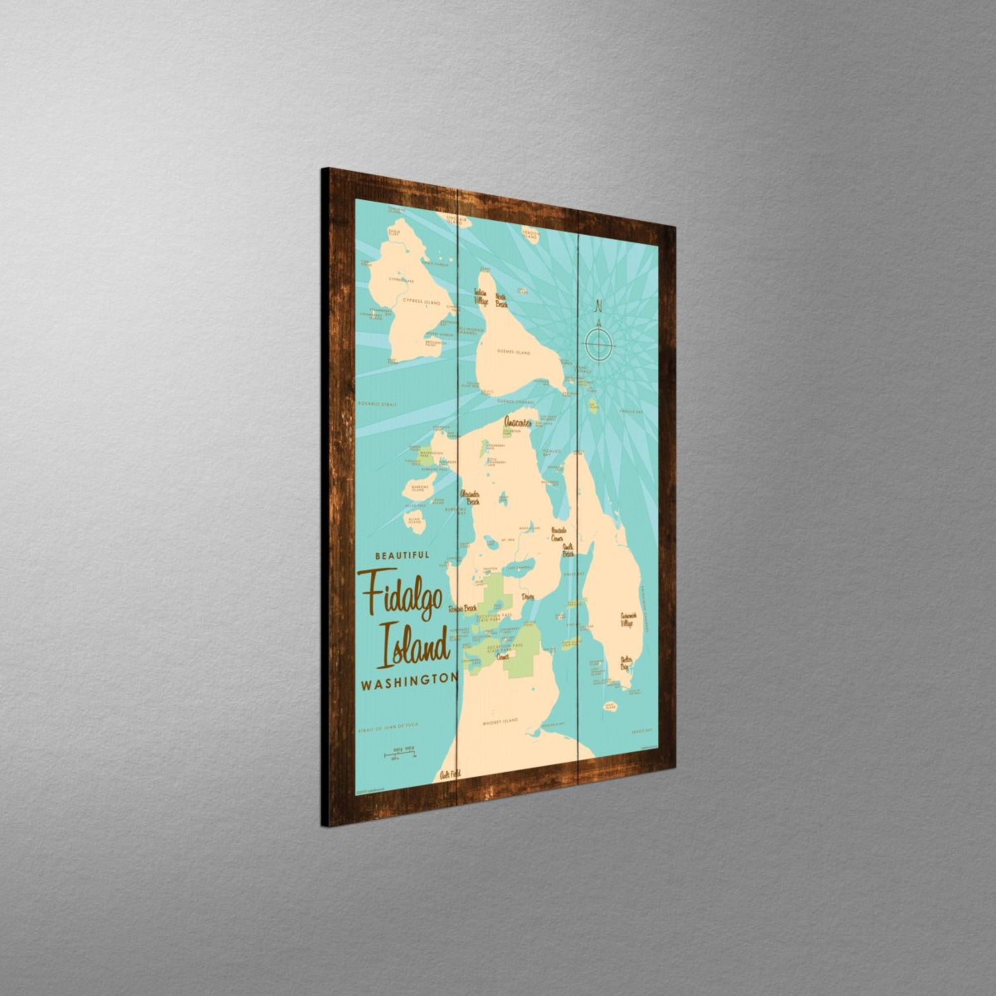 Fidalgo Island Washington, Rustic Wood Sign Map Art