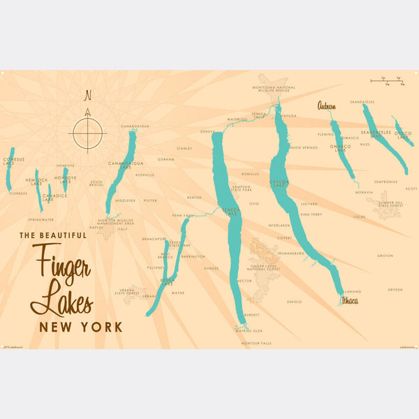Finger Lakes New York, Metal Sign Map Art