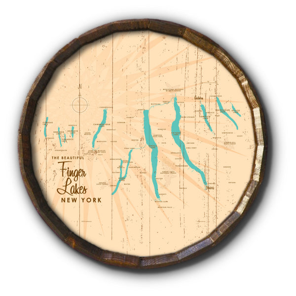 Finger Lakes New York, Rustic Barrel End Map Art