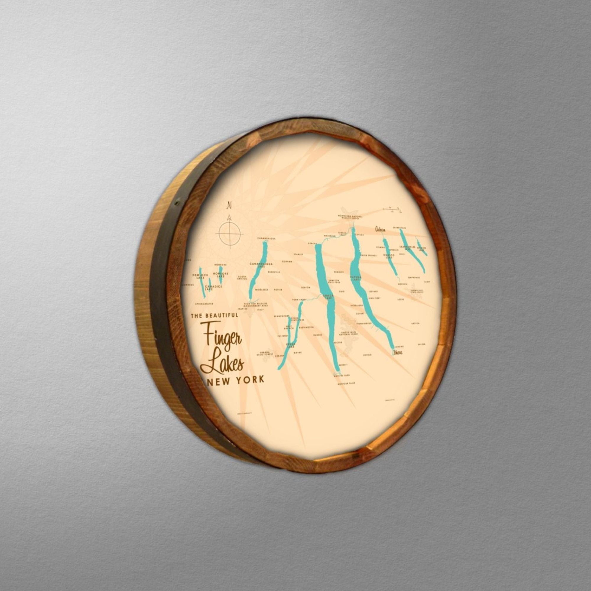Finger Lakes New York, Barrel End Map Art