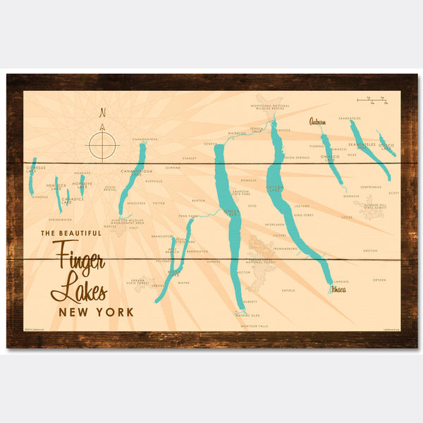 Finger Lakes New York, Rustic Wood Sign Map Art