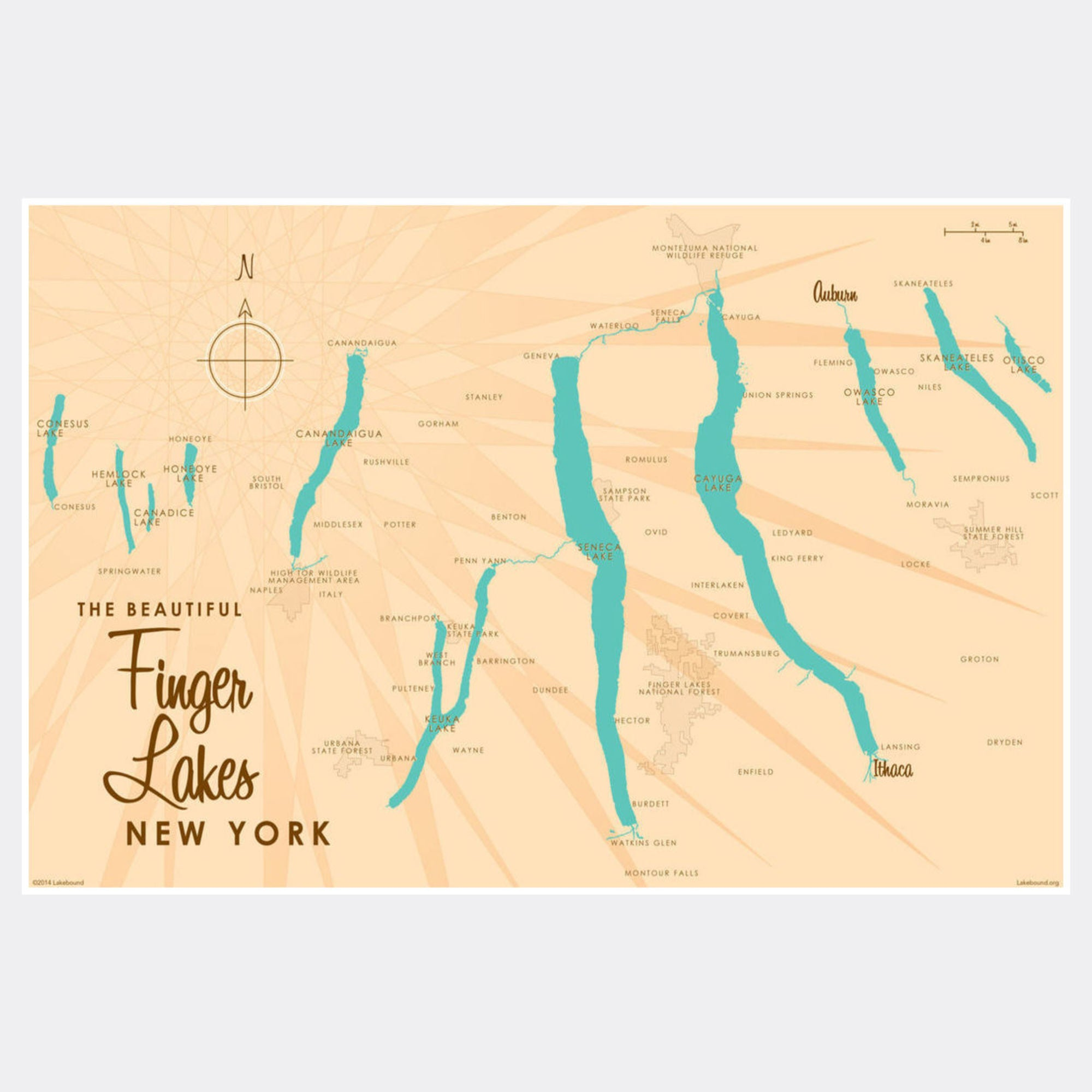 Finger Lakes New York, Paper Print