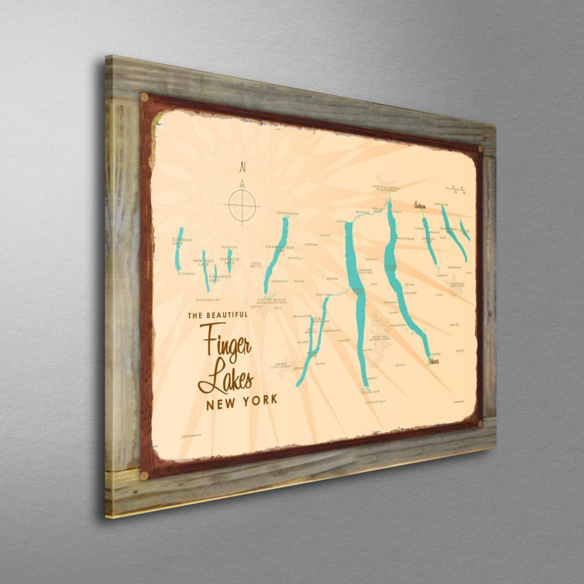 Finger Lakes New York, Wood-Mounted Rustic Metal Sign Map Art