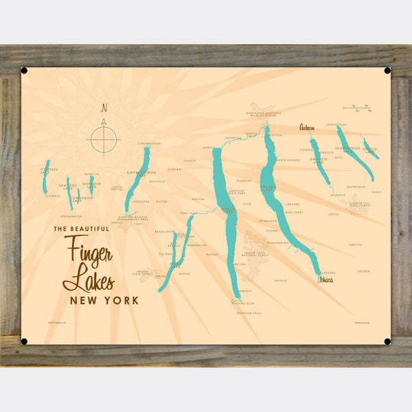 Finger Lakes New York, Wood-Mounted Metal Sign Map Art