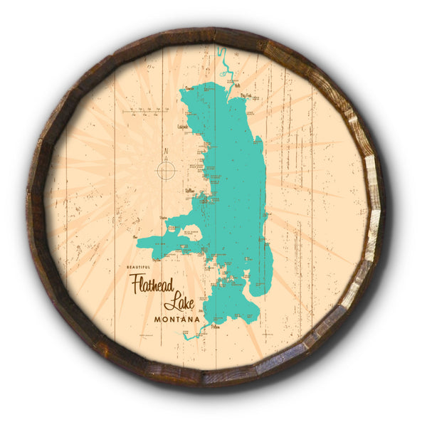 Flathead Lake Montana, Rustic Barrel End Map Art
