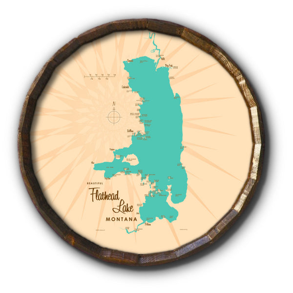 Flathead Lake Montana, Barrel End Map Art