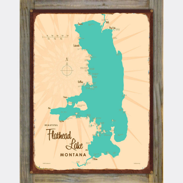 Flathead Lake Montana, Wood-Mounted Rustic Metal Sign Map Art