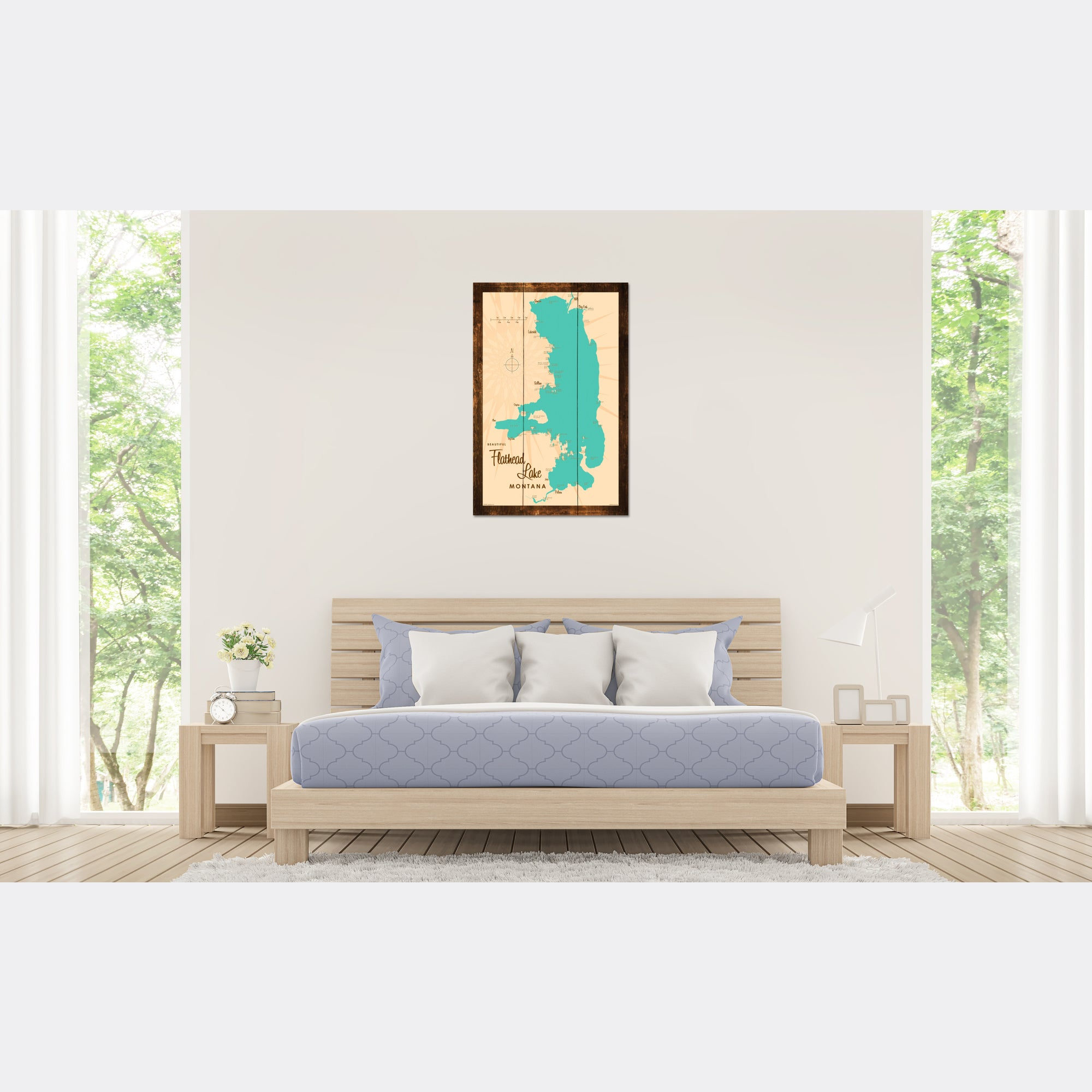 Flathead Lake Montana, Rustic Wood Sign Map Art