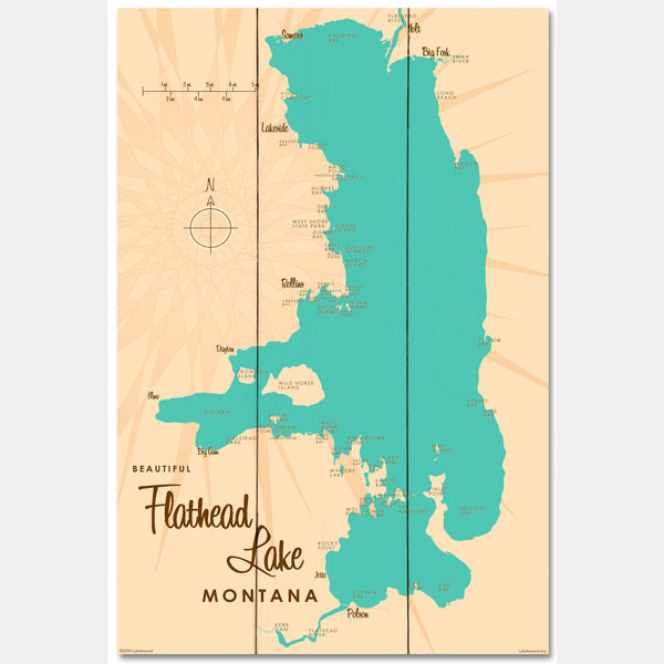 Flathead Lake Montana, Wood Sign Map Art