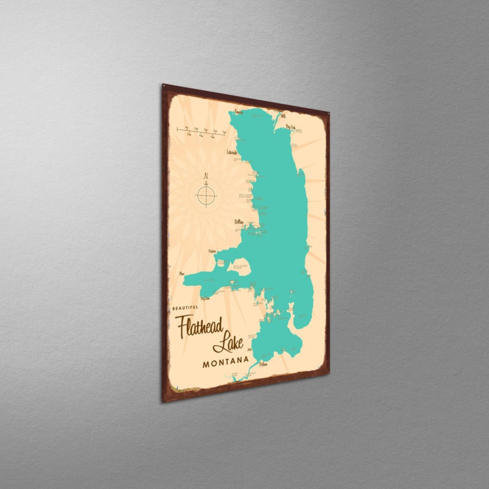 Flathead Lake Montana, Rustic Metal Sign Map Art