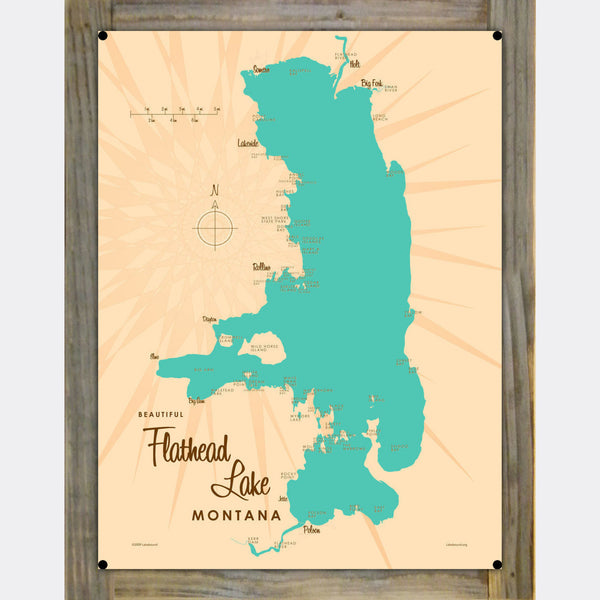 Flathead Lake Montana, Wood-Mounted Metal Sign Map Art