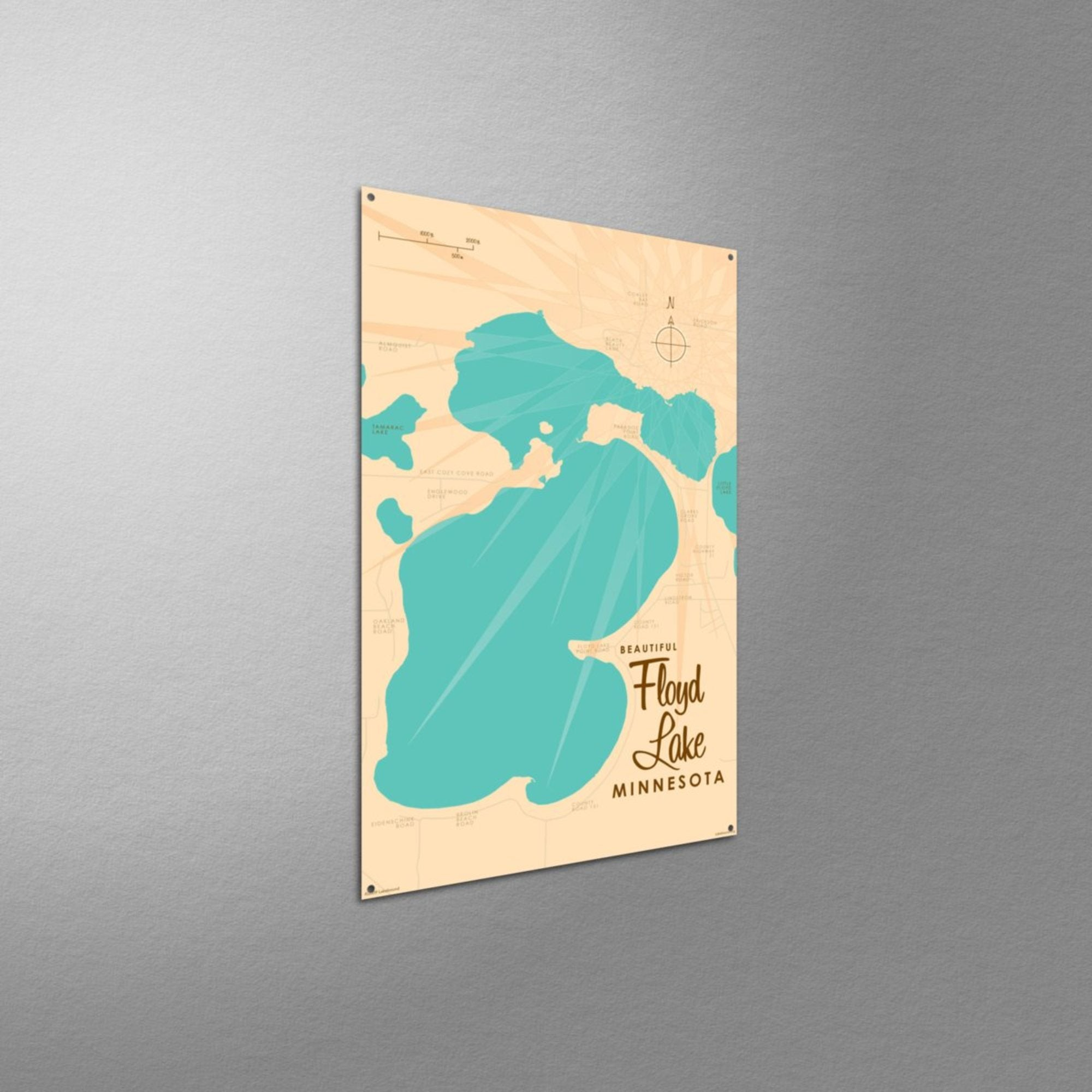 Floyd Lake, Metal Sign Map Art