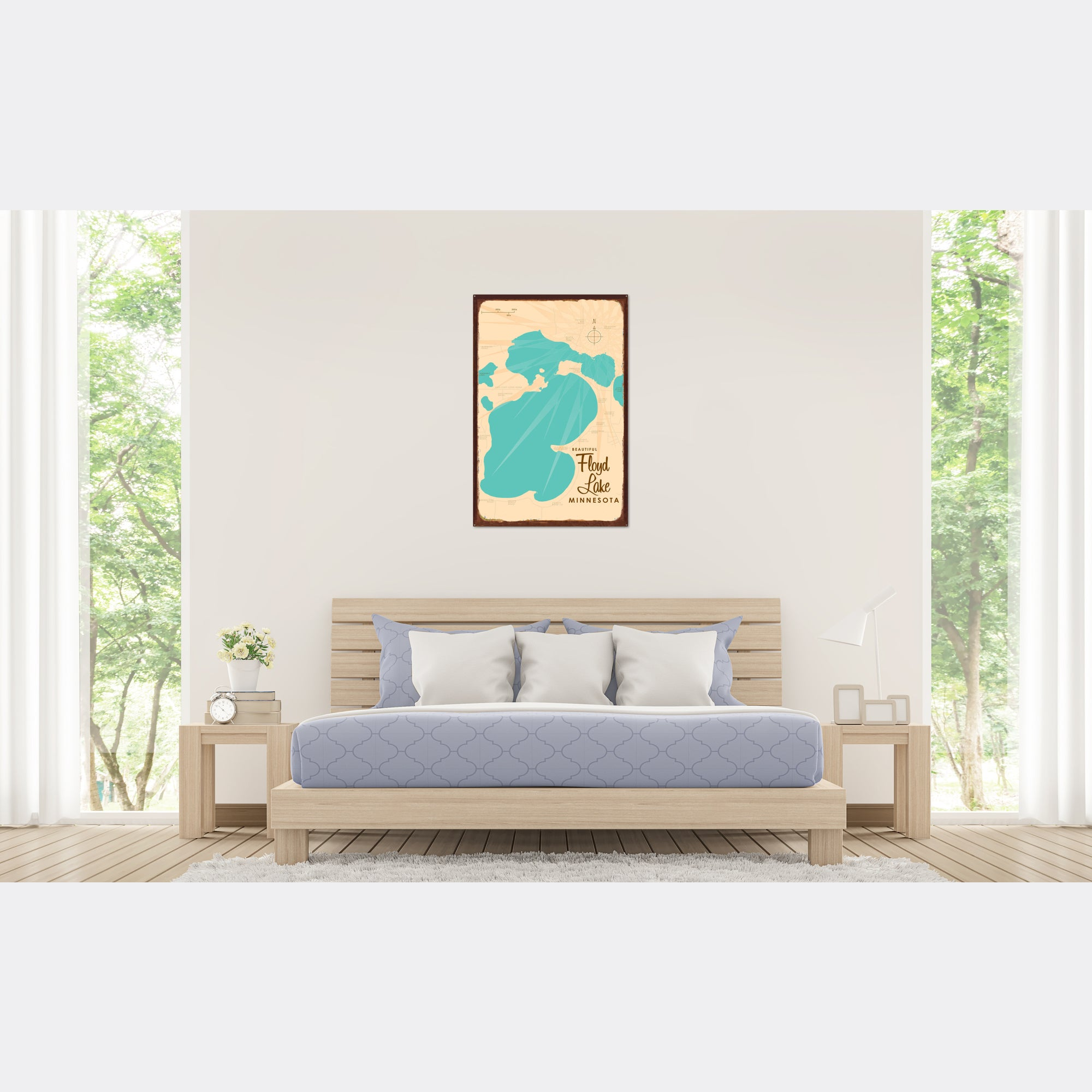 Floyd Lake, Rustic Metal Sign Map Art