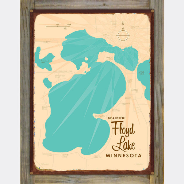 Floyd Lake, Wood-Mounted Rustic Metal Sign Map Art