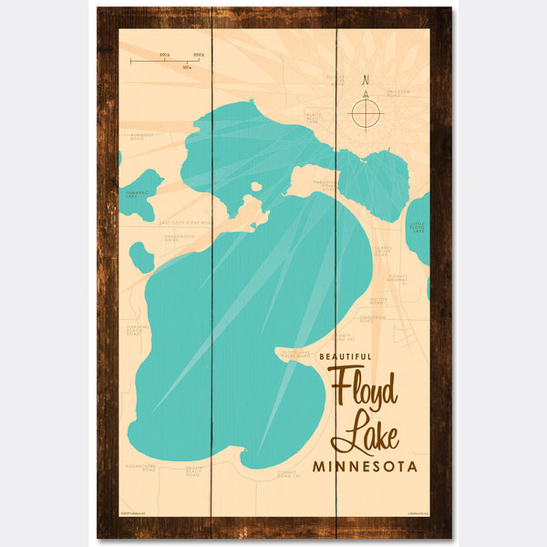 Floyd Lake, Rustic Wood Sign Map Art