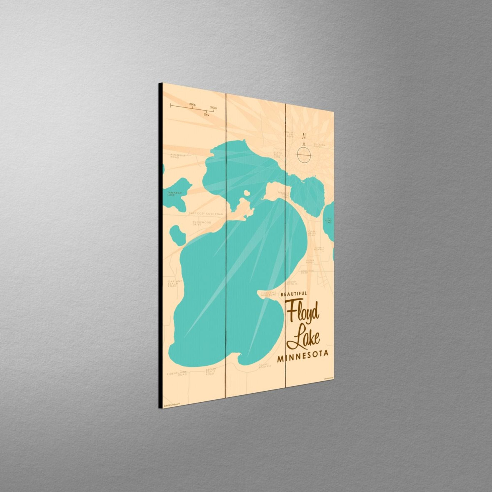 Floyd Lake, Wood Sign Map Art