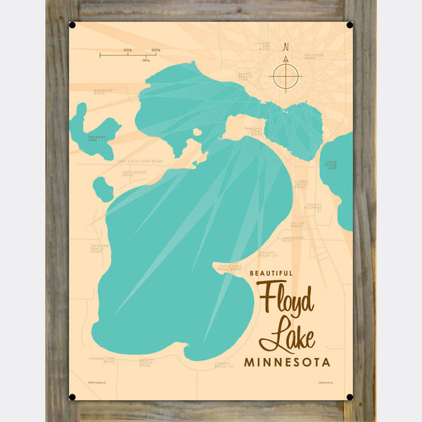 Floyd Lake, Wood-Mounted Metal Sign Map Art