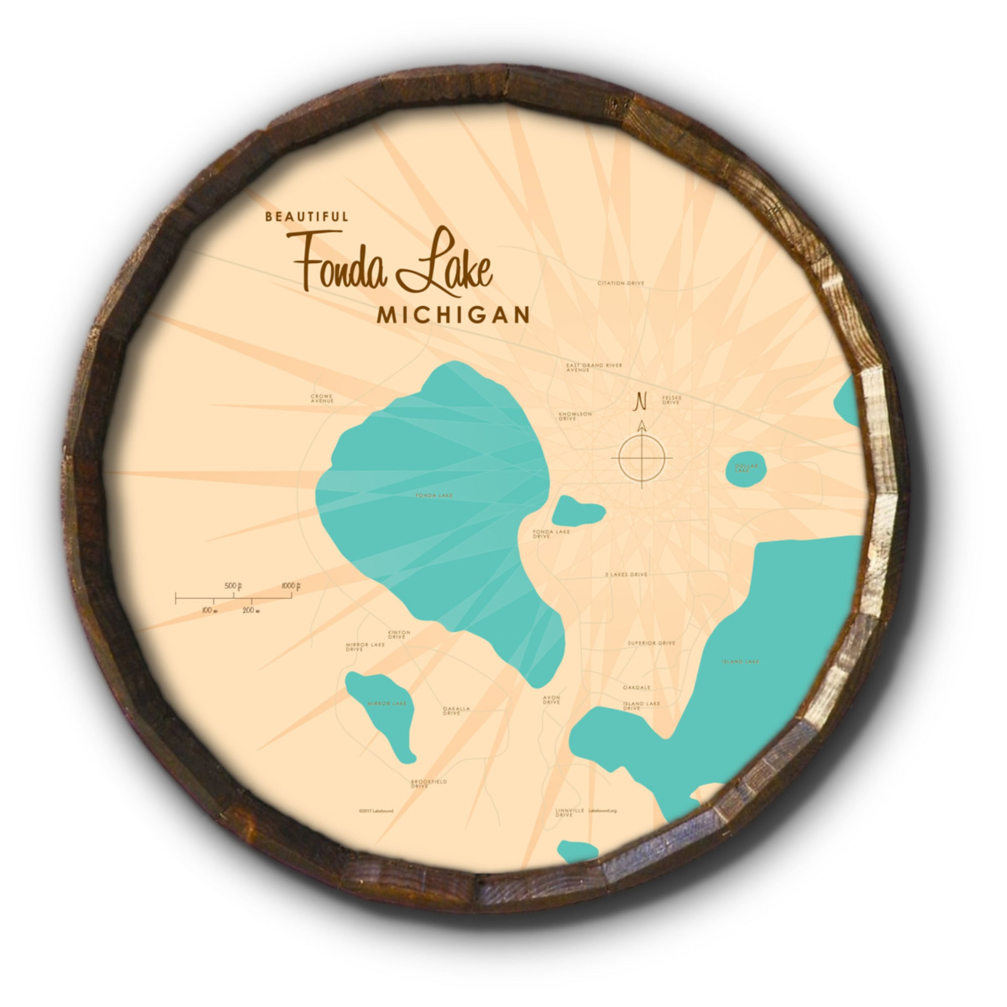 Fonda Lake Michigan, Barrel End Map Art