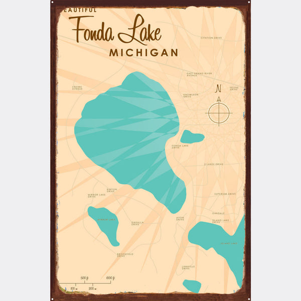 Fonda Lake Michigan, Rustic Metal Sign Map Art