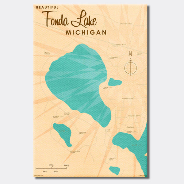 Fonda Lake Michigan, Canvas Print