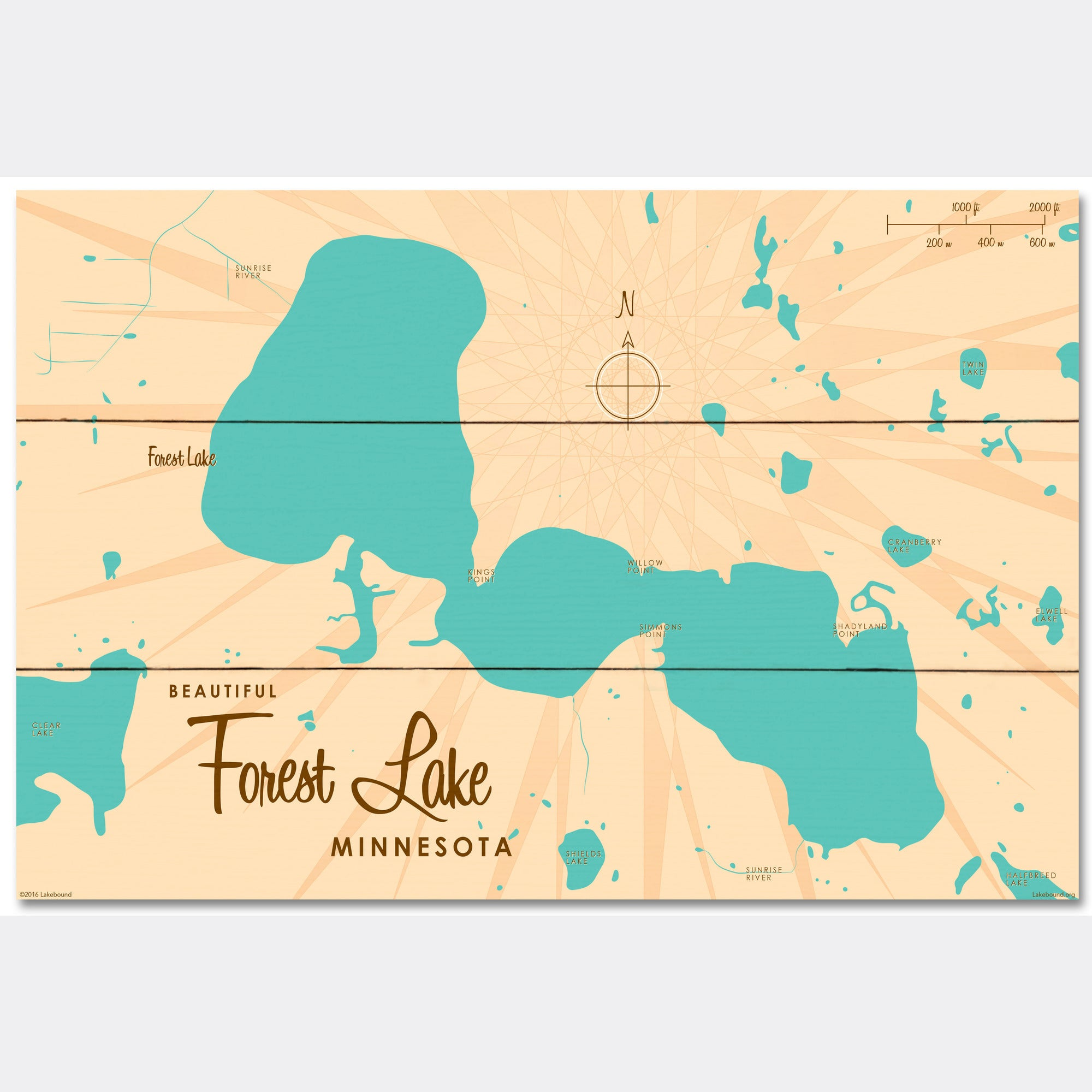 Forest Lake Minnesota, Wood Sign Map Art