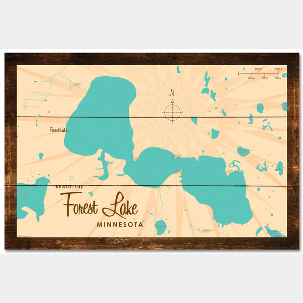 Forest Lake Minnesota, Rustic Wood Sign Map Art