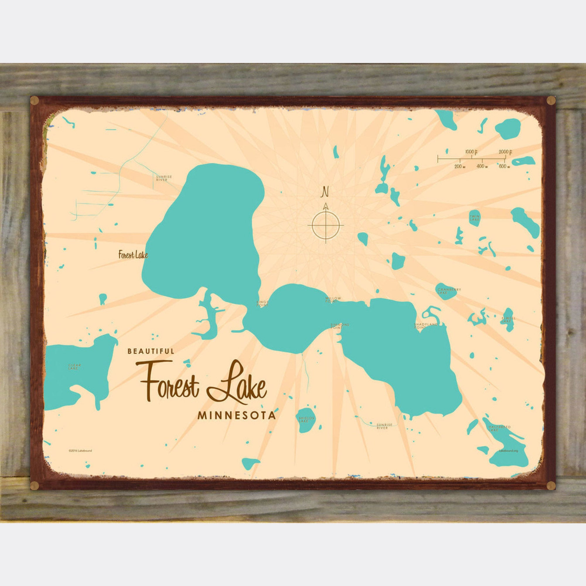 Forest Lake Minnesota, Wood-Mounted Rustic Metal Sign Map Art