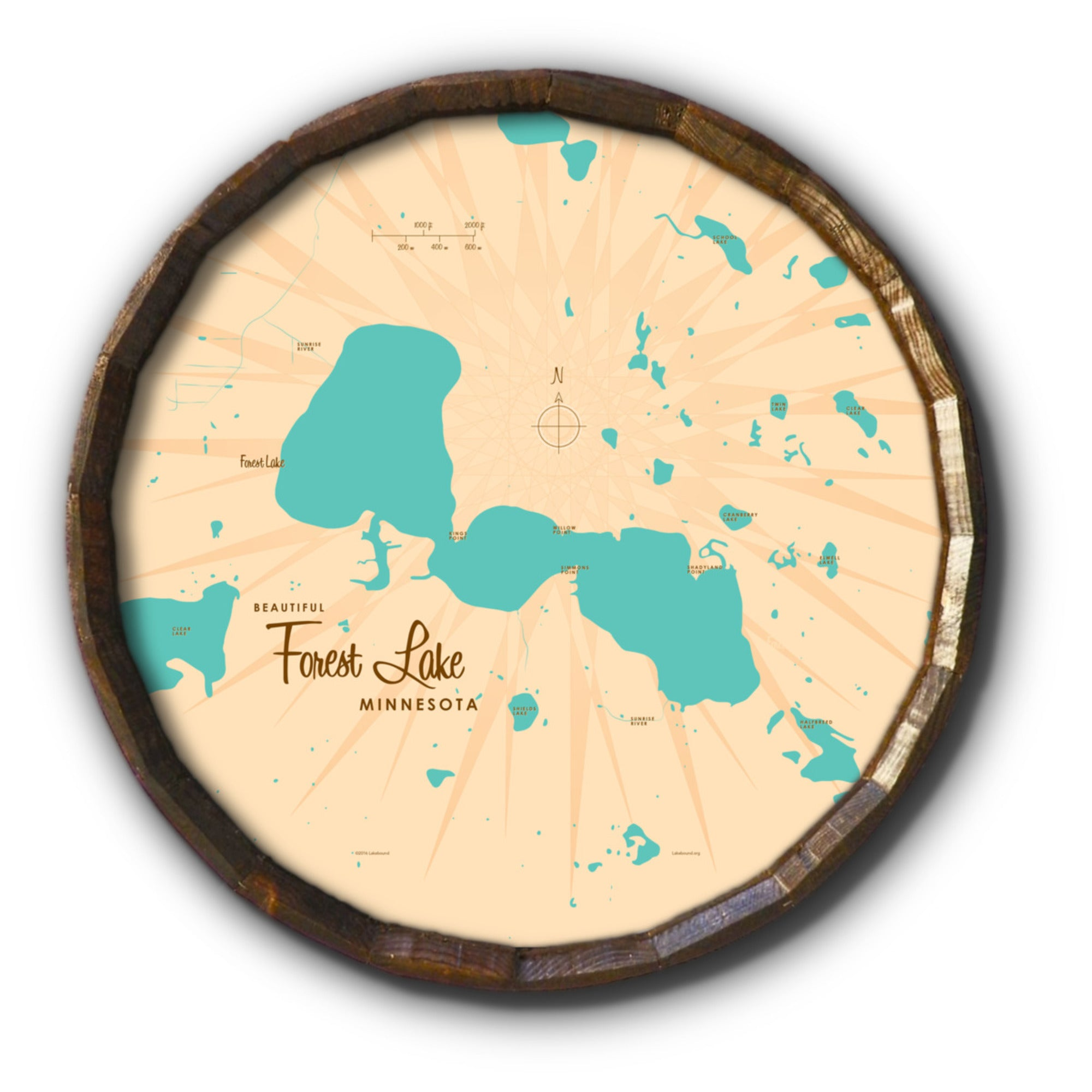 Forest Lake Minnesota, Barrel End Map Art