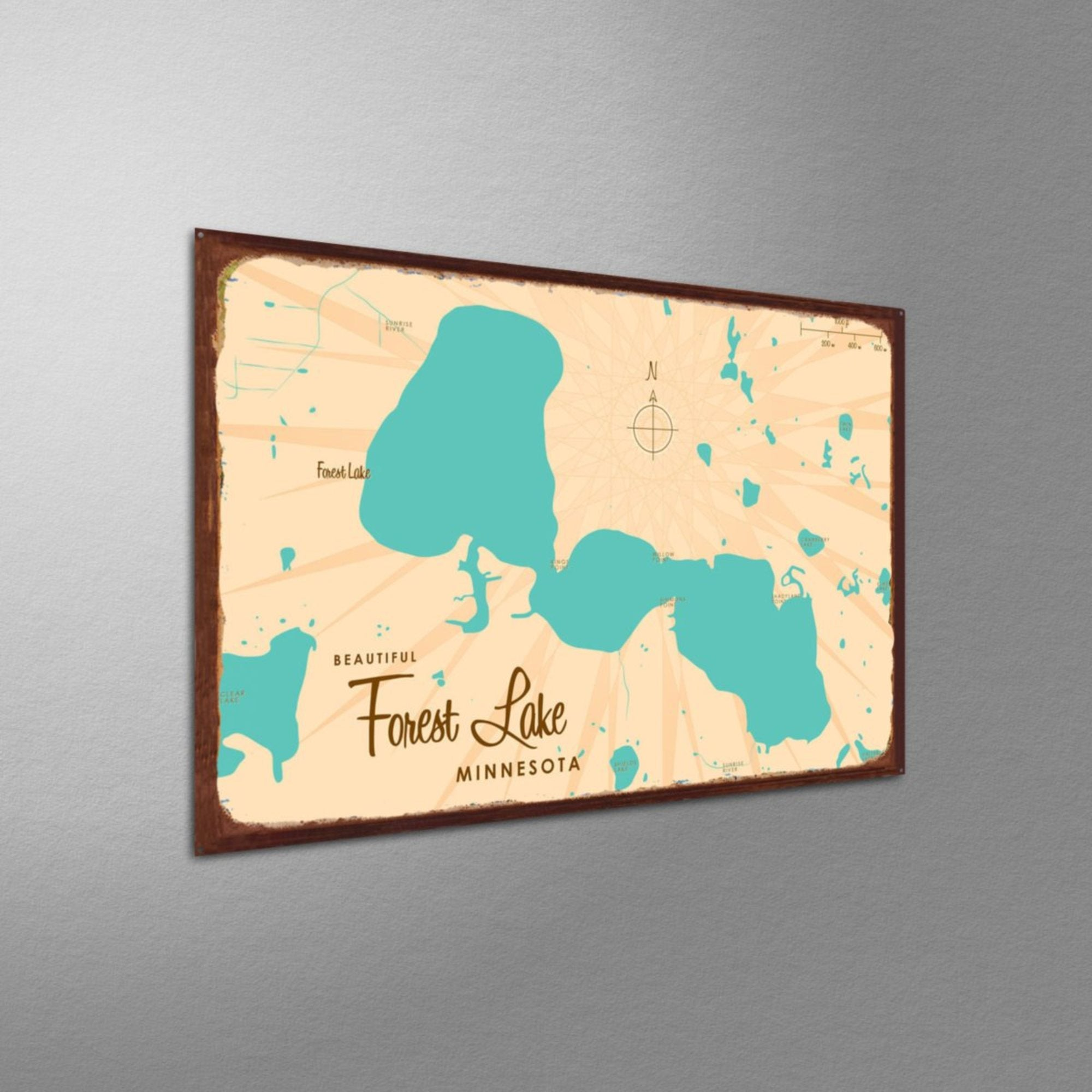 Forest Lake Minnesota, Rustic Metal Sign Map Art