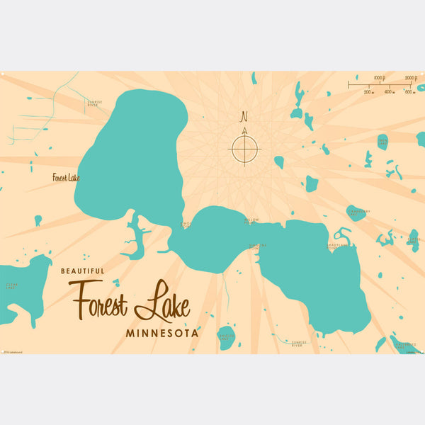 Forest Lake Minnesota, Metal Sign Map Art