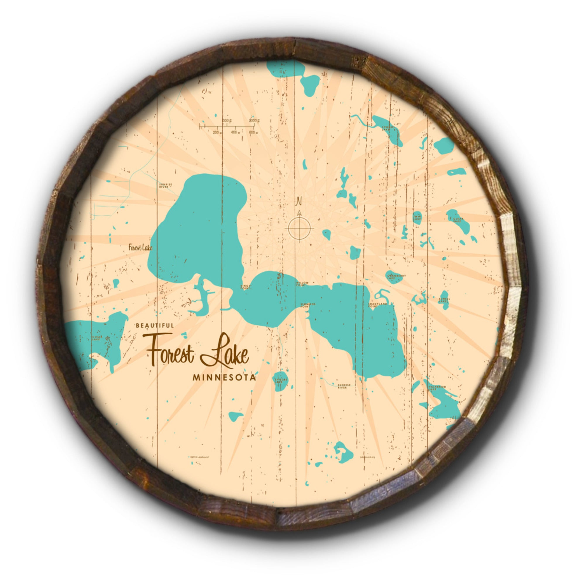 Forest Lake Minnesota, Rustic Barrel End Map Art
