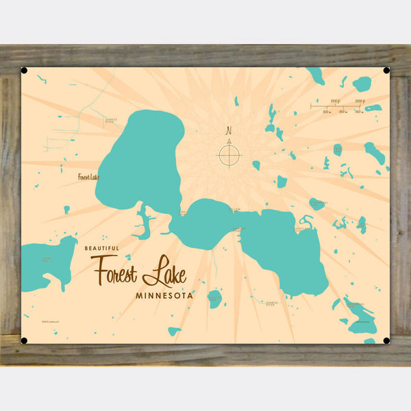 Forest Lake Minnesota, Wood-Mounted Metal Sign Map Art