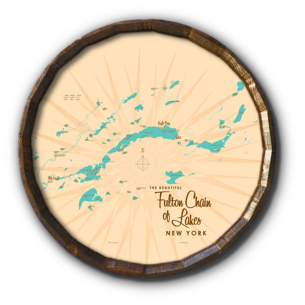 Fulton Chain Lakes New York, Barrel End Map Art