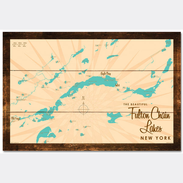 Fulton Chain Lakes New York, Rustic Wood Sign Map Art
