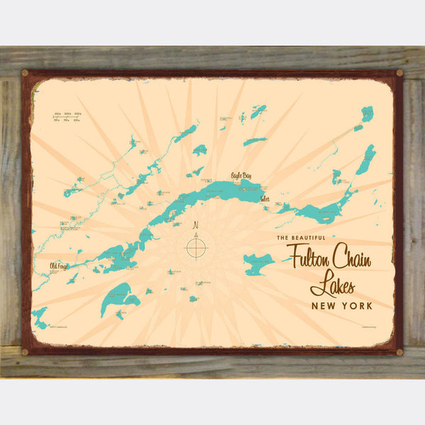 Fulton Chain Lakes New York, Wood-Mounted Rustic Metal Sign Map Art