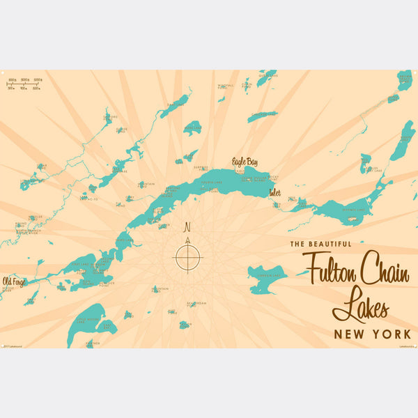 Fulton Chain Lakes New York, Metal Sign Map Art
