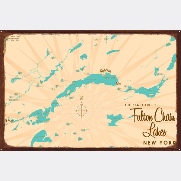 Fulton Chain Lakes New York, Rustic Metal Sign Map Art