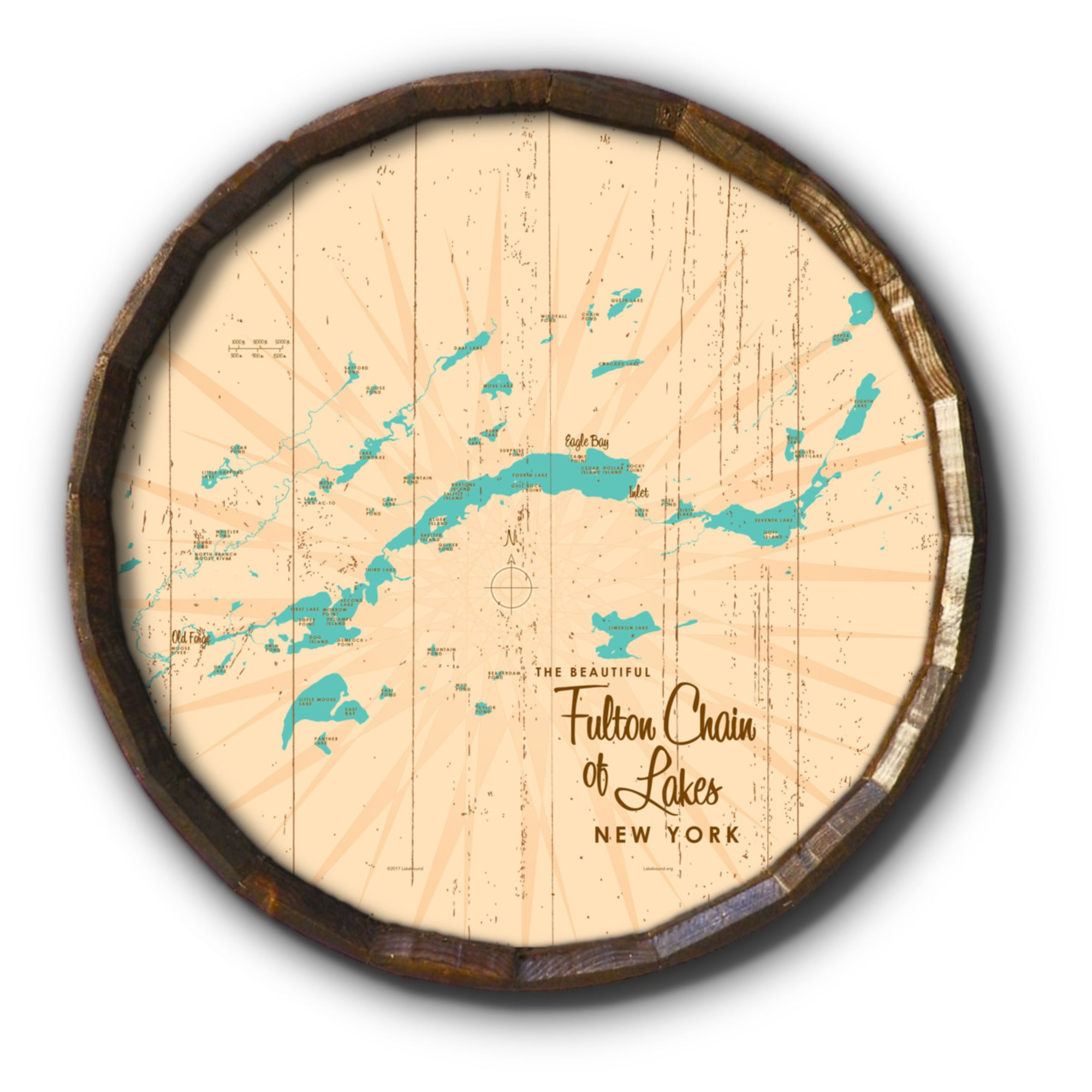 Fulton Chain Lakes New York, Rustic Barrel End Map Art