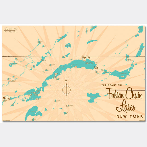 Fulton Chain Lakes New York, Wood Sign Map Art