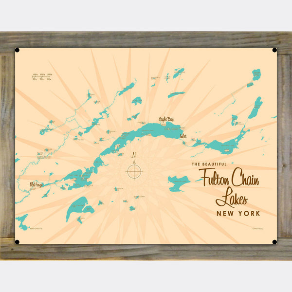 Fulton Chain Lakes New York, Wood-Mounted Metal Sign Map Art