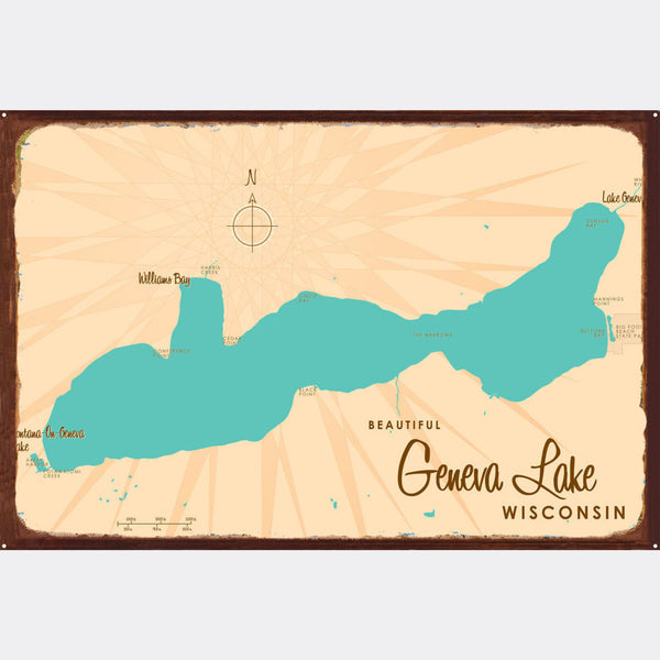 Geneva Lake Wisconsin, Rustic Metal Sign Map Art