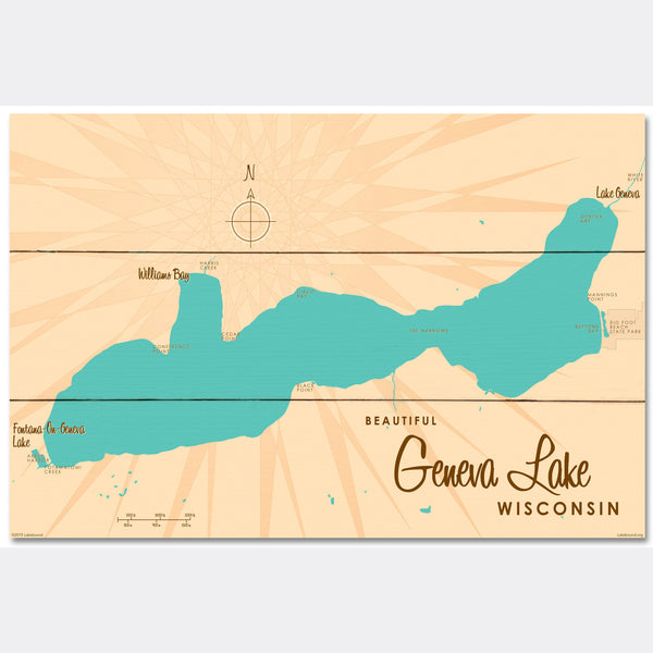 Geneva Lake Wisconsin, Wood Sign Map Art