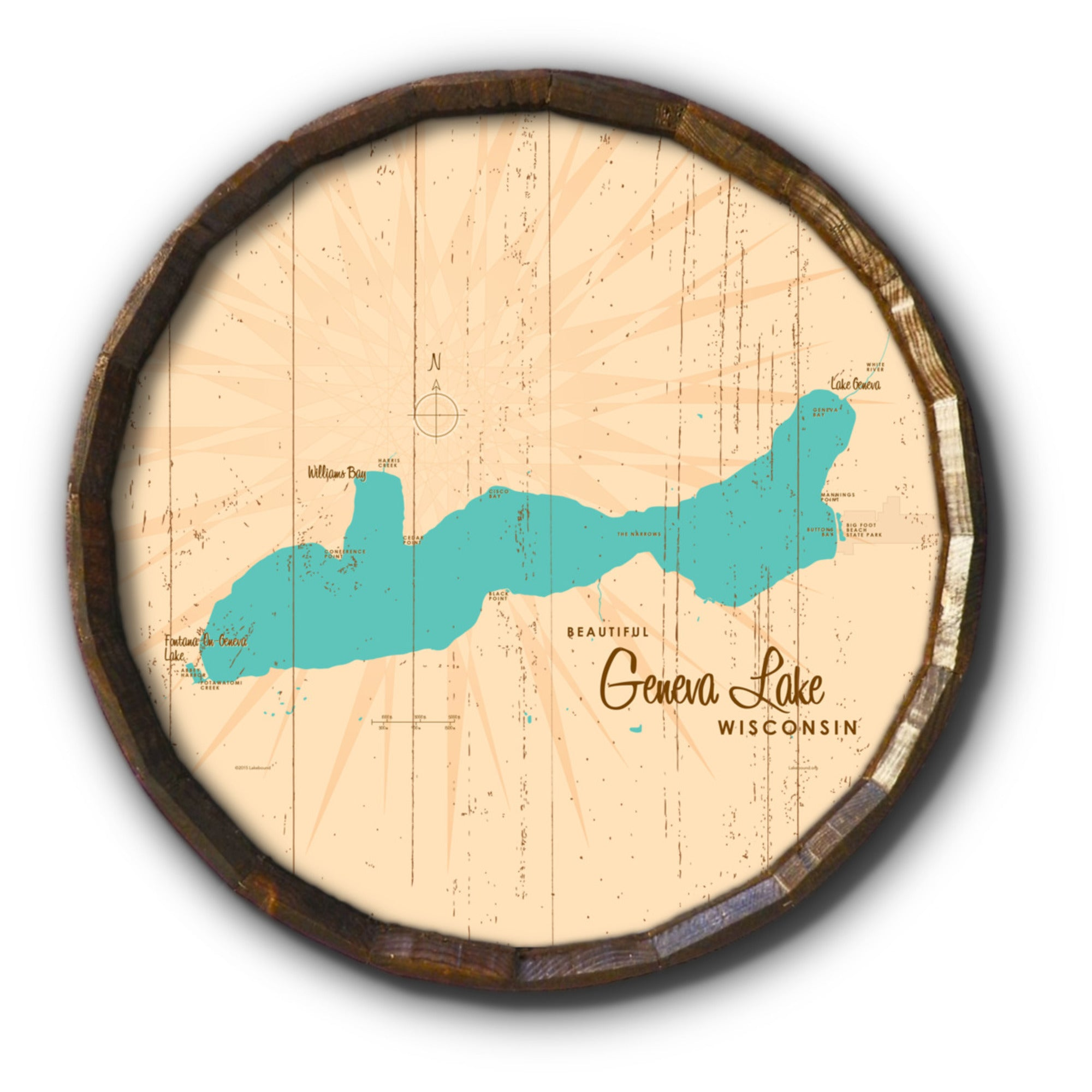 Geneva Lake Wisconsin, Rustic Barrel End Map Art