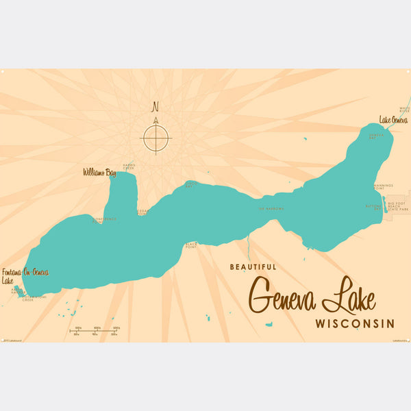 Geneva Lake Wisconsin, Metal Sign Map Art