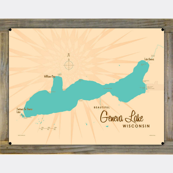 Geneva Lake Wisconsin, Wood-Mounted Metal Sign Map Art