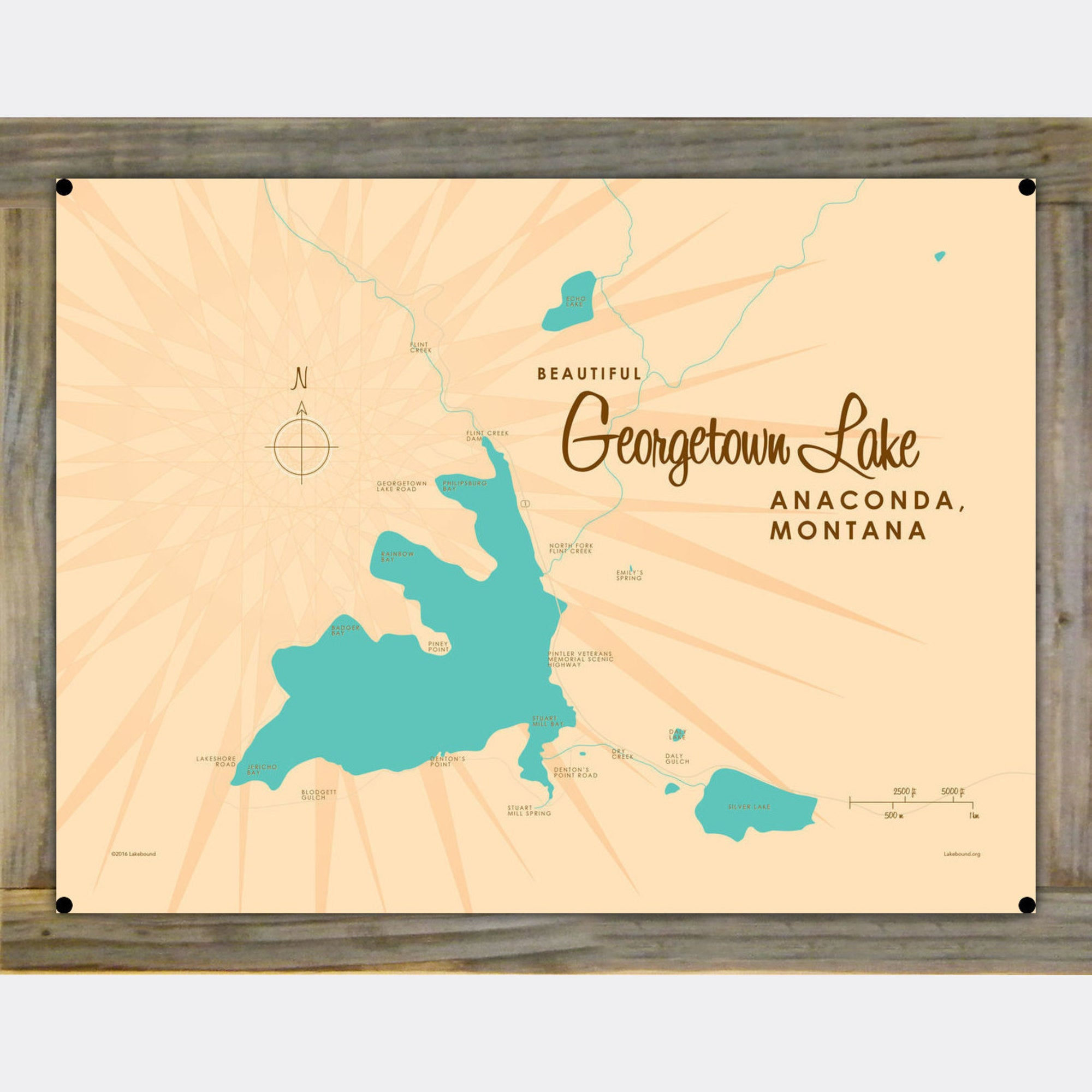 Georgetown Lake Montana, Wood-Mounted Metal Sign Map Art