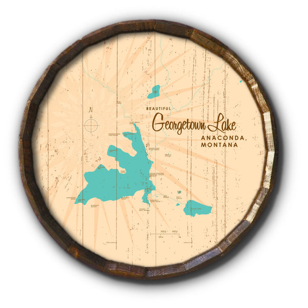 Georgetown Lake Montana, Rustic Barrel End Map Art
